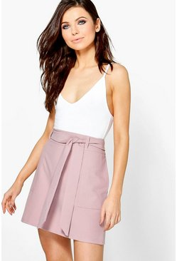 Bella Pocket Front Belted Woven Skirt