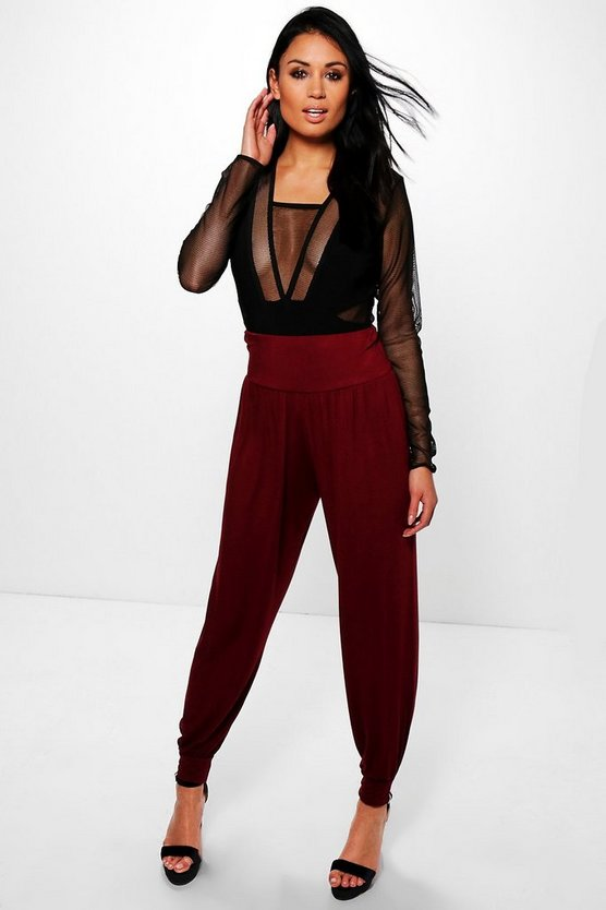 Lena Basic High Waist Jersey Hareem Trousers