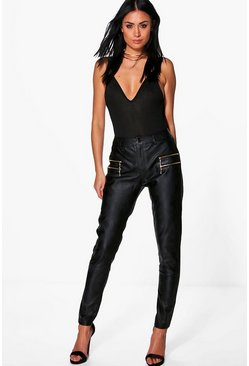 Bahati Premium Leather Look Zip Detail Skinny Trousers
