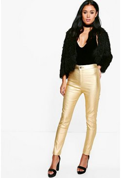 Avah Metallic Coated Super Skinny Highwaist Trousers