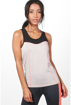 Lilly Fit Mesh Neon Stitch Running Vest