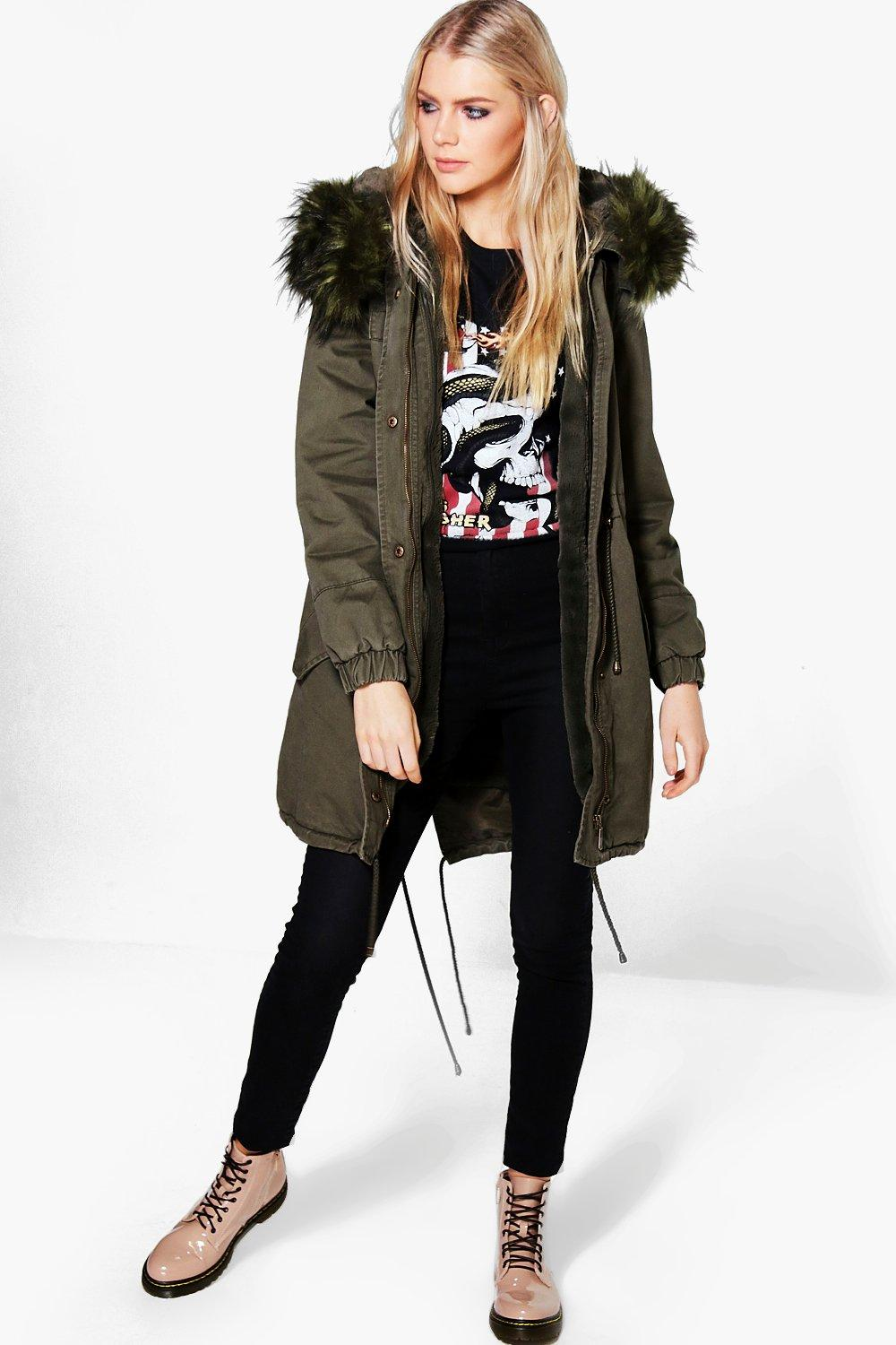 Faux Fur Hood Parka  green