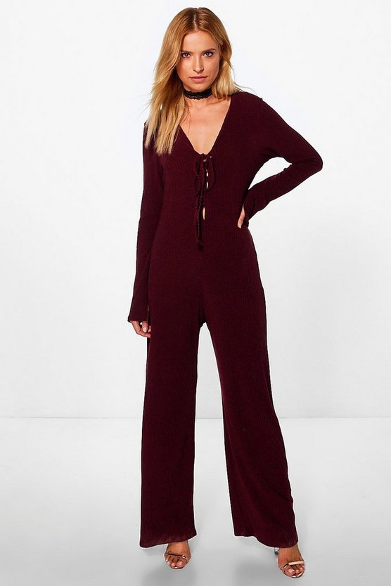 Jen Lace Up Extra Long Sleeve Ribbed Jumpsuit