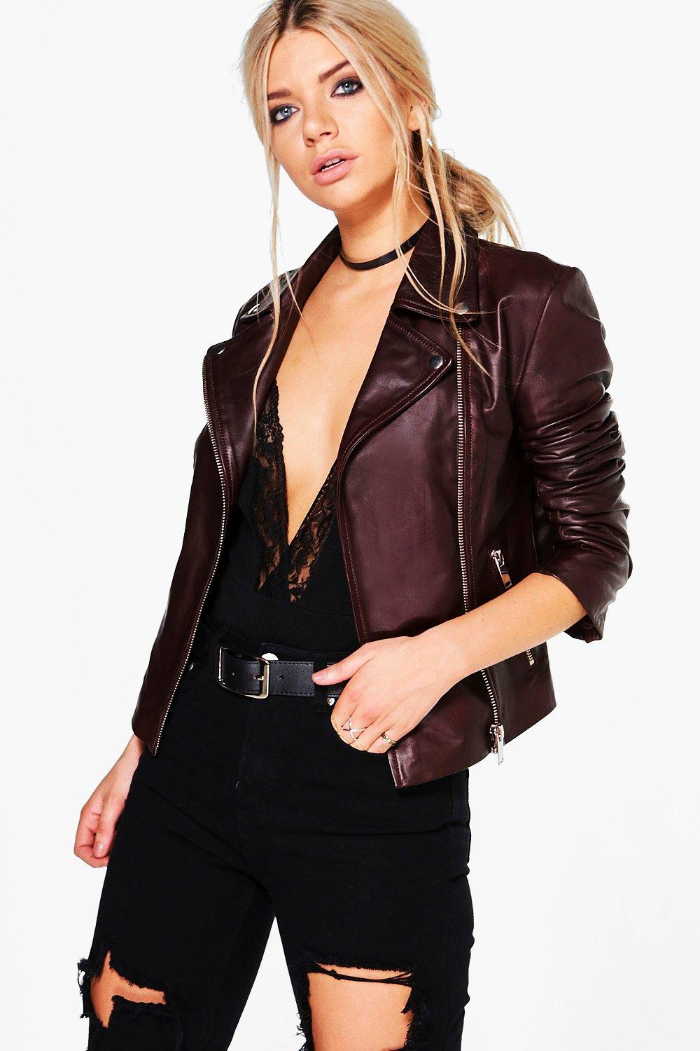 Emily Real Leather Biker Jacket