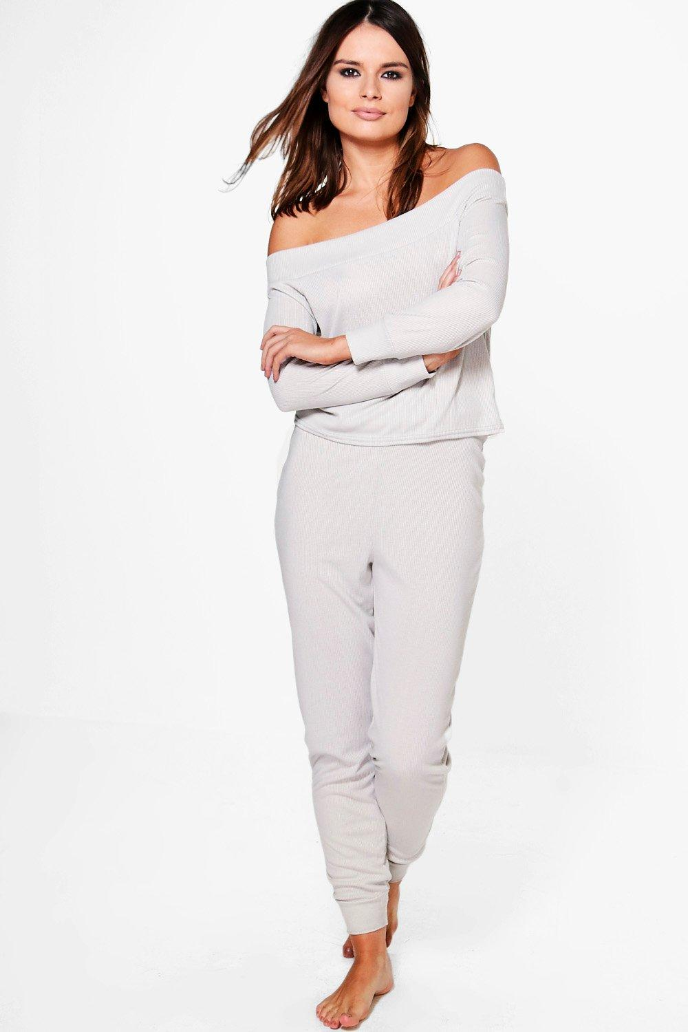 Zoe Off The Shoulder Knitted Loungewear Set