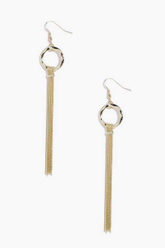 Eva Hoop Metal Tassel Earrings