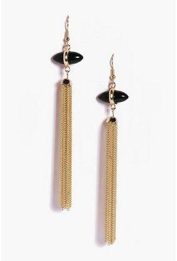 Imogen Black Stone Metal Tassel Earrings