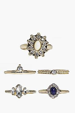 Megan Diamante & Mixed Stone 5 Ring Pack