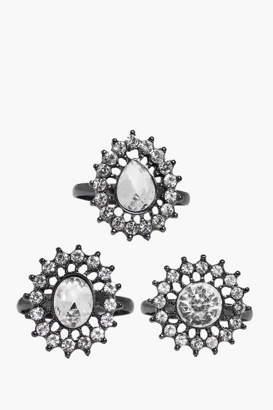 Ellie 3 Piece Diamante Embellished Ring Pack