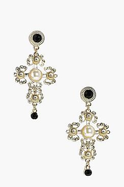 Abigail Cross Filigree & Stone Earrings
