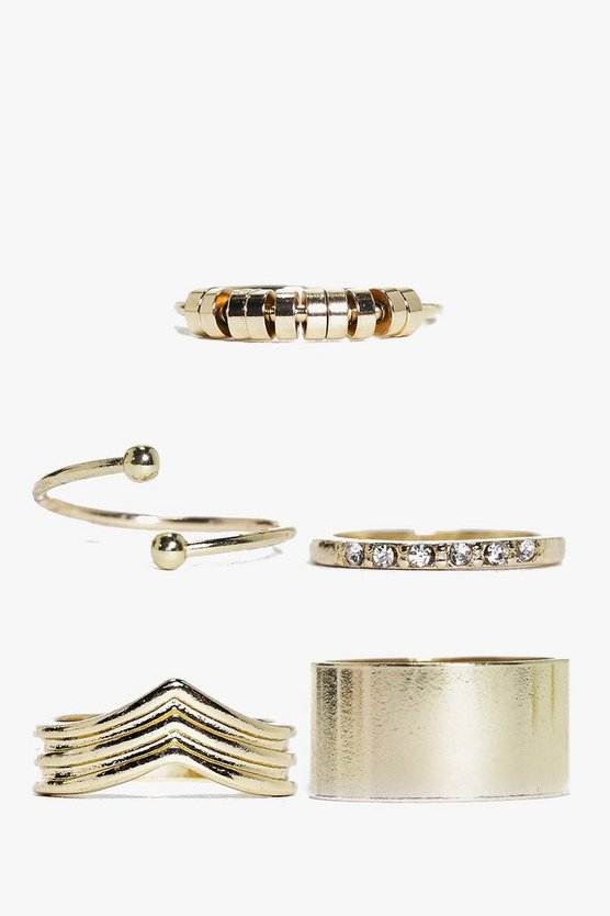 Holly Mixed Design 5 Piece Ring Pack