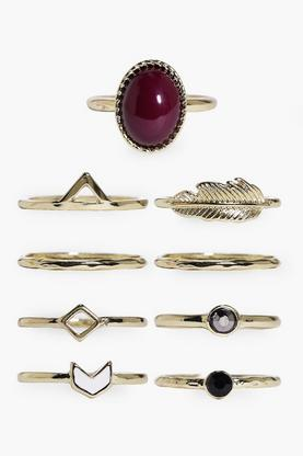 Scarlett Stone & Geometric Mixed 9 Ring Pack