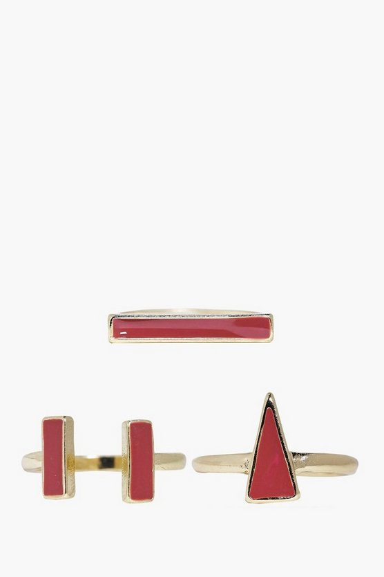 Phoebe Geometric Shape Enamel Ring Pack