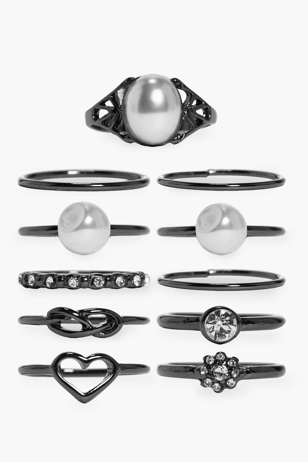 Lucy Pearl & Diamante Mixed Ring Pack
