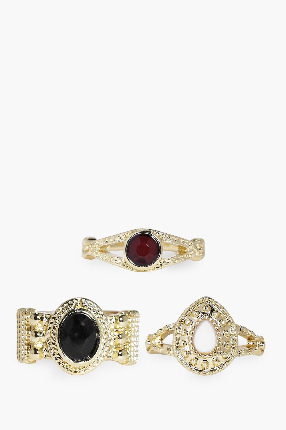 Maisie Ornate Mixed Stone Ring Pack