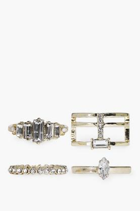 Diamante Geometric Mixed Ring Pack