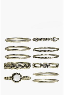 Isabelle Skinny Mixed Design Ring Pack
