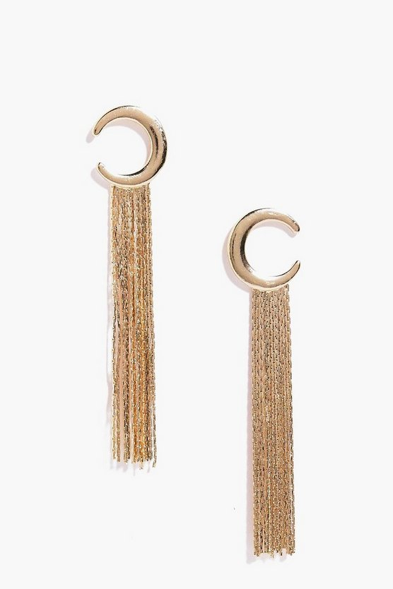 Molly Crescent Moon Metal Tassel Earrings
