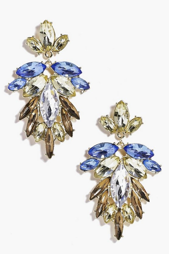 Multi Colour Diamante Statement Earrings