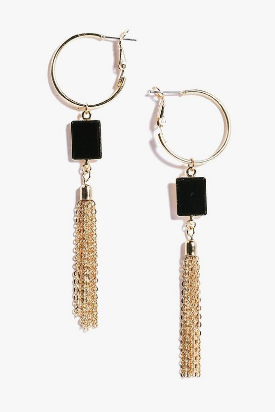 Gracie Hoop Enamel Metal Tassel Earrings