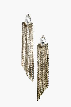 Rosie Diamante Stud Metal Tassel Earrings