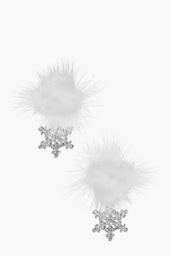 Leah Faux Fur Diamante Snowflake Earrings