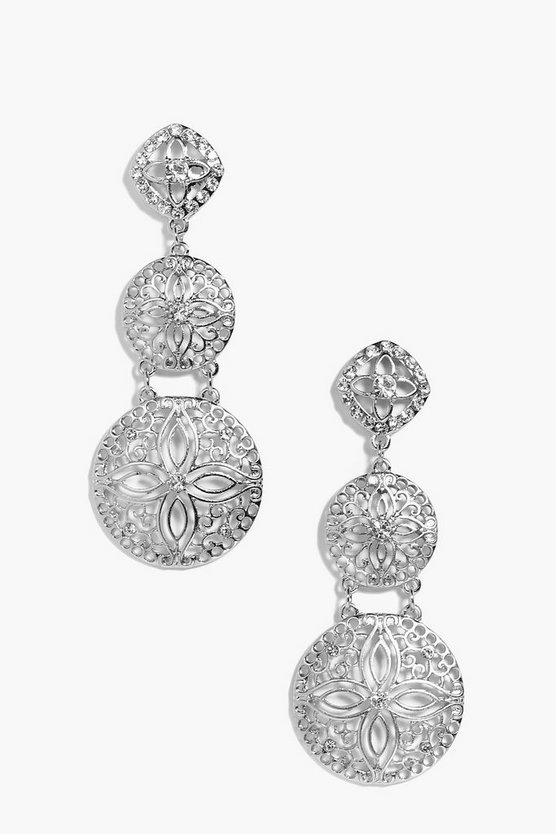 Georgia Filigree Tie Diamante Earrings