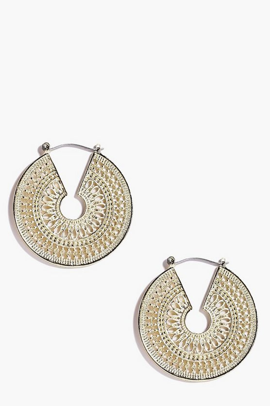 Eastern Intricate Hoop Earrings
