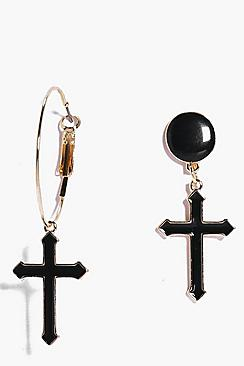 Leila Cross Pendant Mismatch Earrings