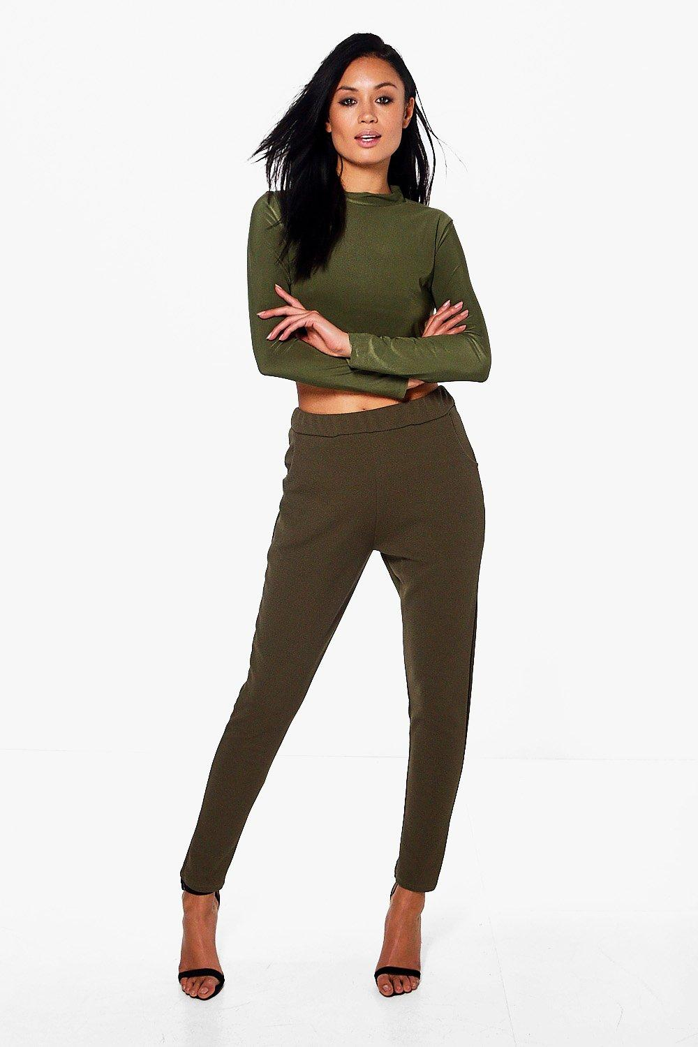 Roll Neck Top And Skinny Trouser Coord  khaki