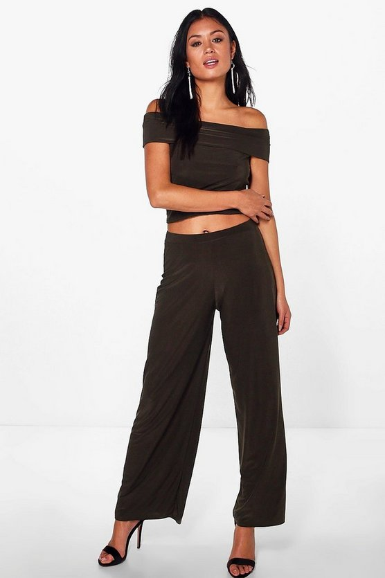 Olivia Slinky Off The Shoulder Top and Wide Leg Trouser