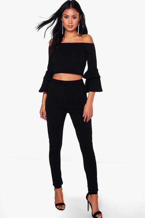 Ashley Crepe Ruffle Off The Shoulder