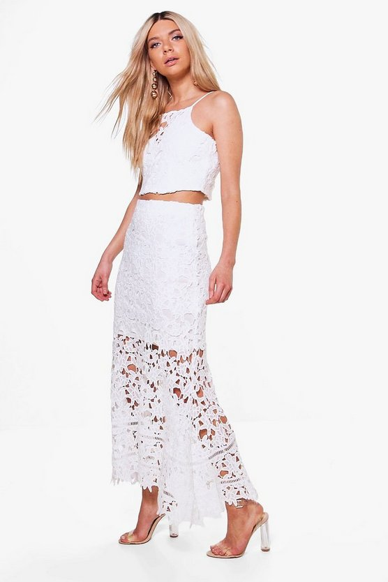 Alice Crochet Crop And Midi Skirt Co-ord