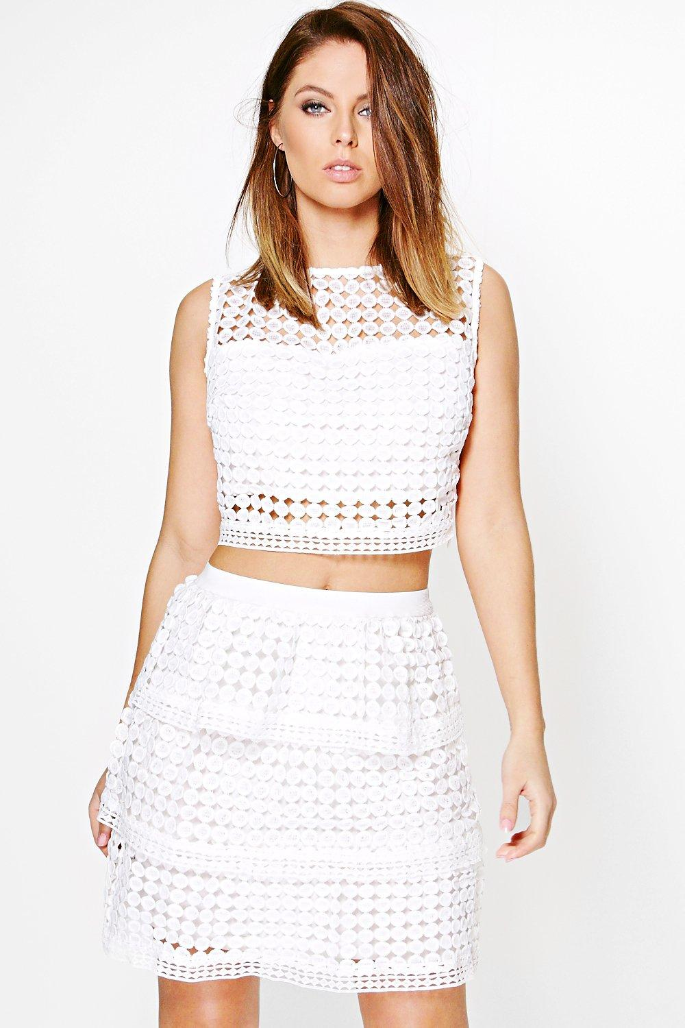 Abigail Lace Peplum Top And Skirt Co-ord