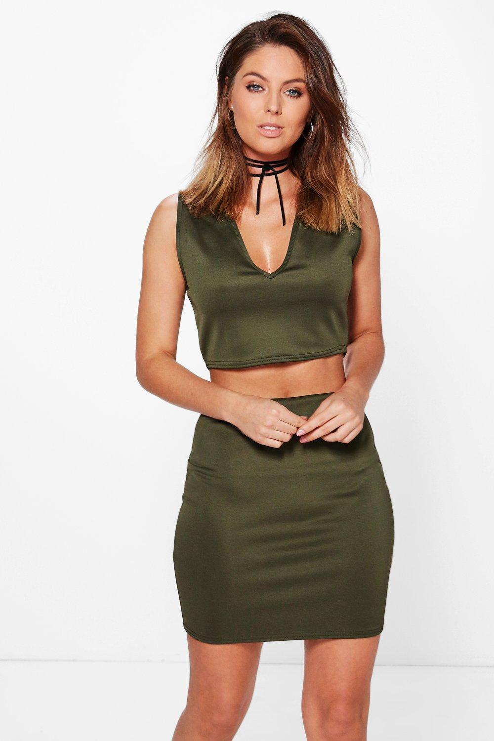 Imogen Neck Tie Scuba Plunge Crop and Skirt Co-ord