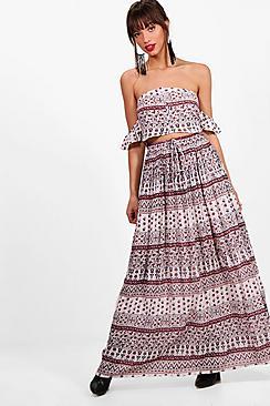 emilia woven frill sleeve top & maxi skirt co-ord