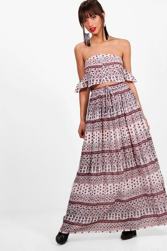 Emilia Woven Frill Sleeve Top & Maxi Skirt Co-Ord