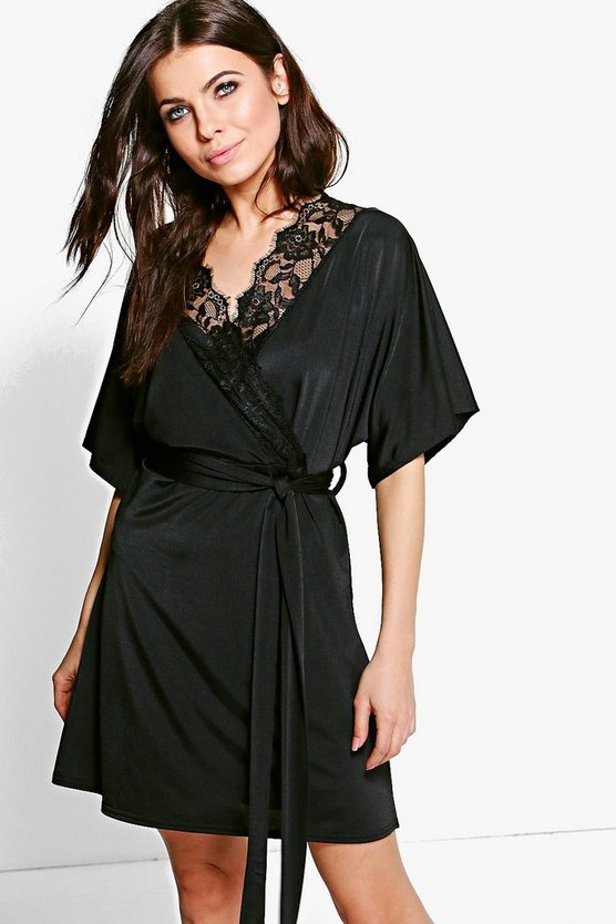 Maeve Lace Trim Short Sleeved Wrap Dress