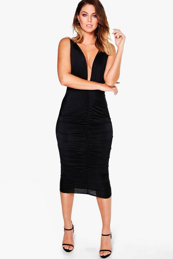 Maura Slinky Rouched Plunge Midi Dress