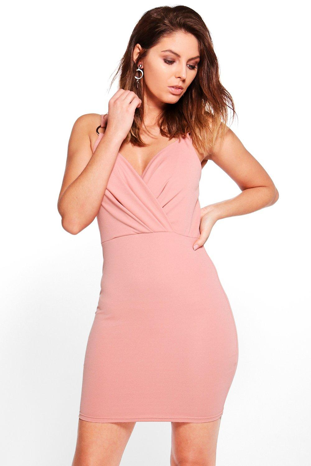 Minka Trim Detail Wrap Bodycon Dress