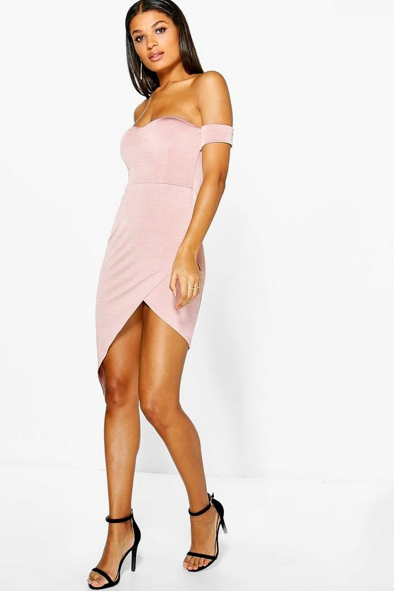Misse Crepe Off Shoulde Wrap Midi Dress