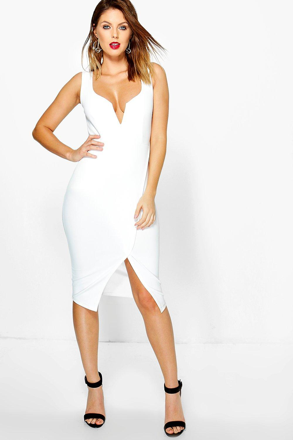 Negin Plunge Wrap Skirt Midi Bodycon Dress