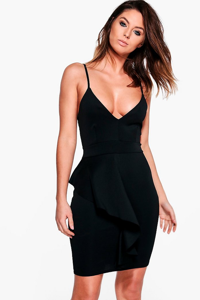 North Strappy Frill Scuba Bodycon Dress