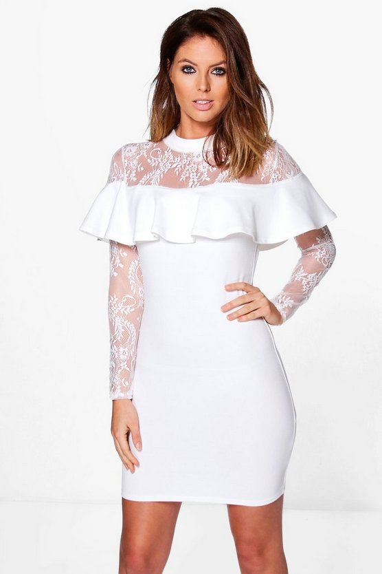 Lia Lace Off Shoulder Frill Bodycon Dress