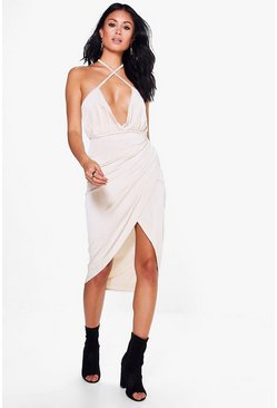 Paige Strappy Wrap Rouche Midi Dress