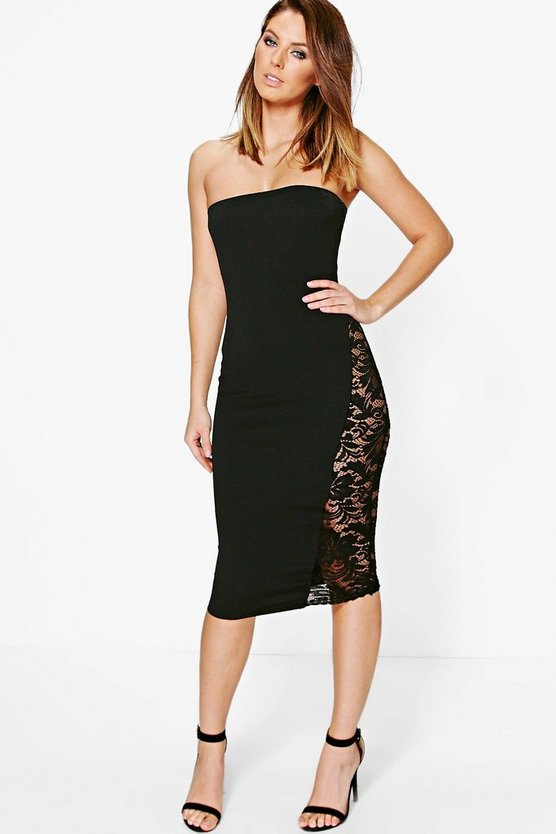 Pandi Sheer Lace Bandeau Midi Dress