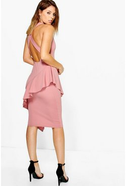 Emi Asymmetric Cross Back Peplum Midi Dress