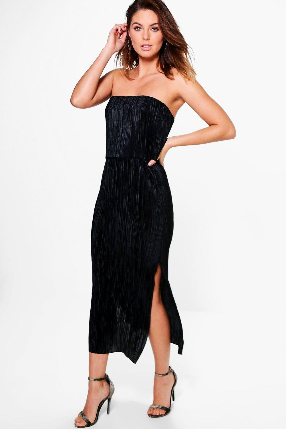 Aisha Pleated Double Layer Midi Dress