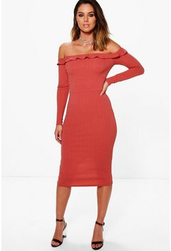 Belle Frill Off Shoulder Midi Bodycon Dress