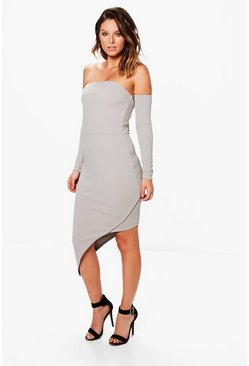 Lulu Off Shoulder Asymmetric Midi Dress